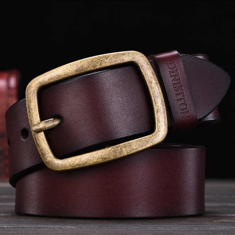 Dinisiton Mens Sapi Kulit Asli Pria Belt Mewah Tali Pria Ikat Pinggang untuk Pria Baru Fashion Vintage Pin Gesper Desainer Belt merek