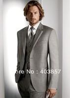 New Arrival Groom Suit Wedding Men Suit Dinner Tuxedos Custom Suits (Jacket+Pants+Vest) Light Gray 725