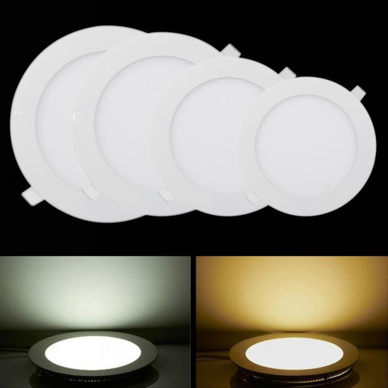 Us 5 03 35 Off Led Panel Led Ceiling Lights Ultra Thin Ac 110v 220v Led Light The Panel Downlight Round Flat Ceiling Lamp 3w 6w 9w 12w 15w In Led