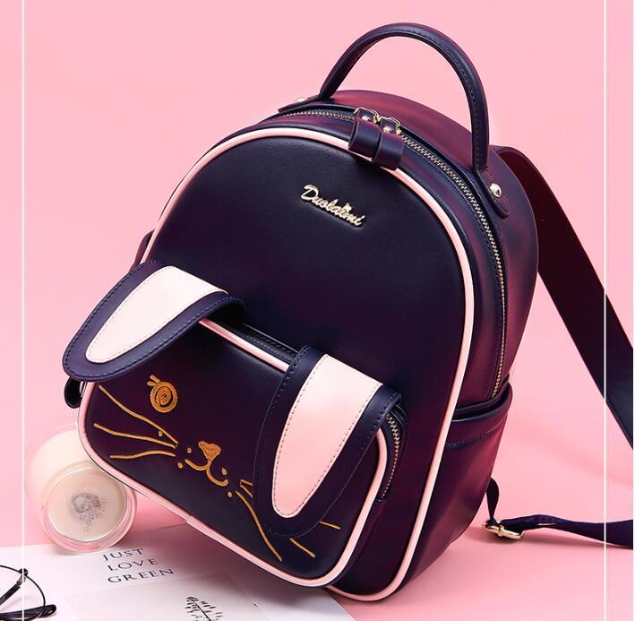 DuoLaiMi Bags For Women 2019 Rabbit Ear Fashion Embroidery CartoonBag Japan and Korean School PU Women