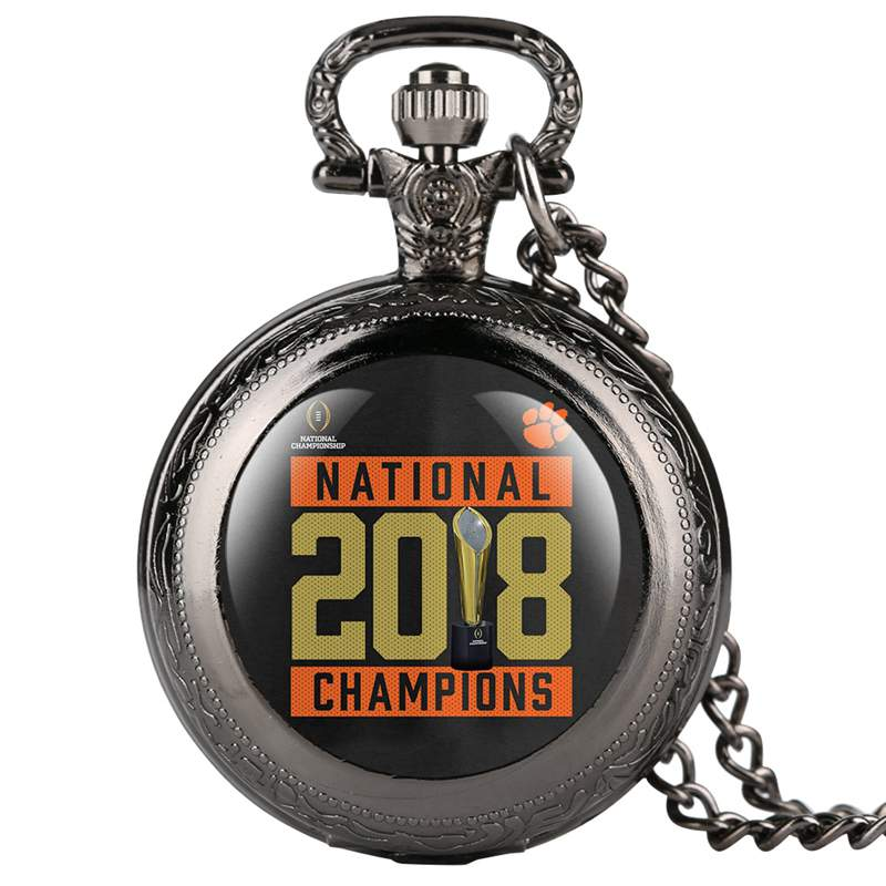 Fashion Black 2018 National Champions Quartz Pocket Watch With 80cm Necklace Pendant Gifts Drop Shipping