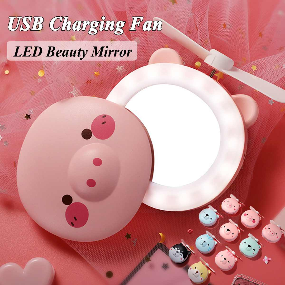 Mini LED Light Beauty Mirror Makeup Tool Portable Fan Cartoon Bear Pink Multifunction USB Rechargeable Cooling Outdoor Small Fan