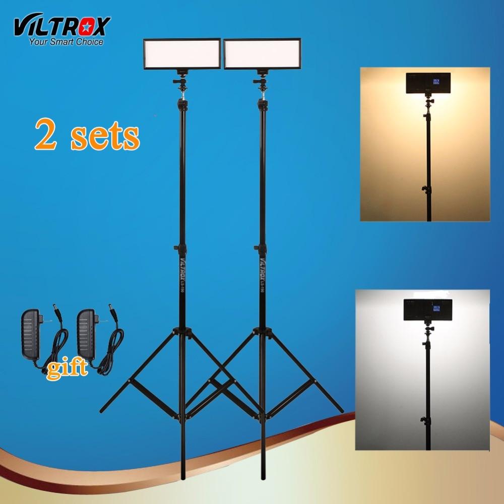 Viltrox L132T LCD Bi-Couleur Dimmable LED Caméra Vidéo Lumière 2 ensembles + 2 Lumière Stand Trépied + AC adaptateur pour DSLR Studio Kit D'éclairage