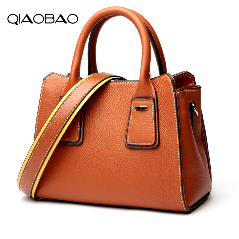 QIAOBAO Wide Shoulder Strap Casual Tote Bags 2018 Genuine Leather Luxury Designer Handbags Women Bags Crossbody Bags For Ladies fashion small casual bucket tote bags 2018 genuine leather luxury designer handbags mini women bags crossbody bags for ladies