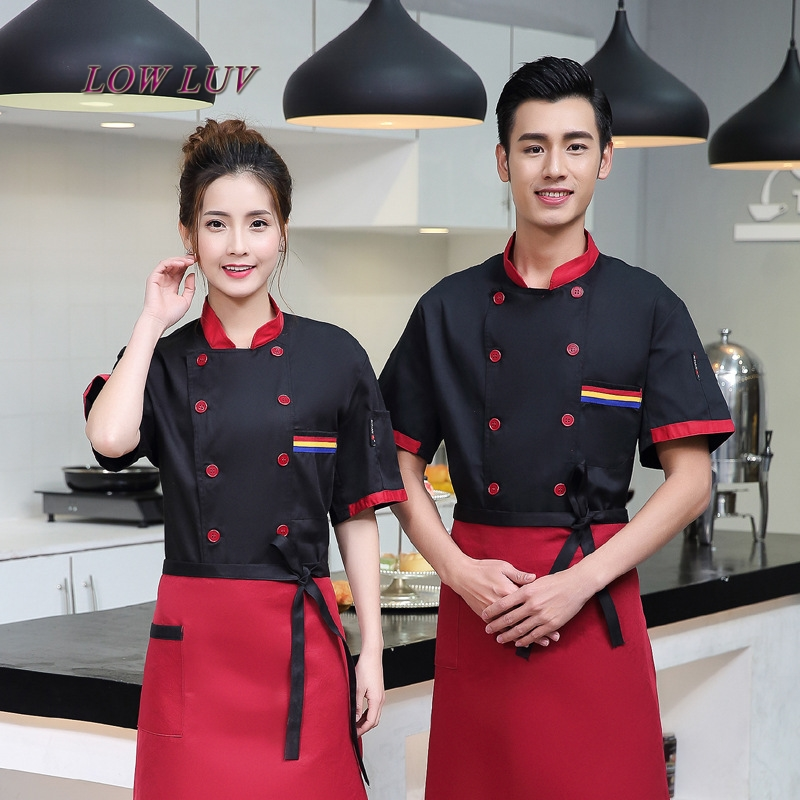 New Style Star Hotel Chef Clothing Short Sleeve Chef Uniforms Summer Restaurant Restaurant Chef Long Overalls M-3XL Big Size