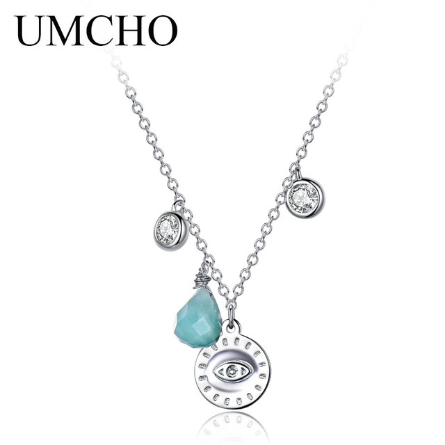 Umcho real 925 sterling silver necklace pendants for women natural umcho real 925 sterling silver necklace pendants for women natural chalcedony gemstone handmade fine jewelry silver aloadofball Gallery