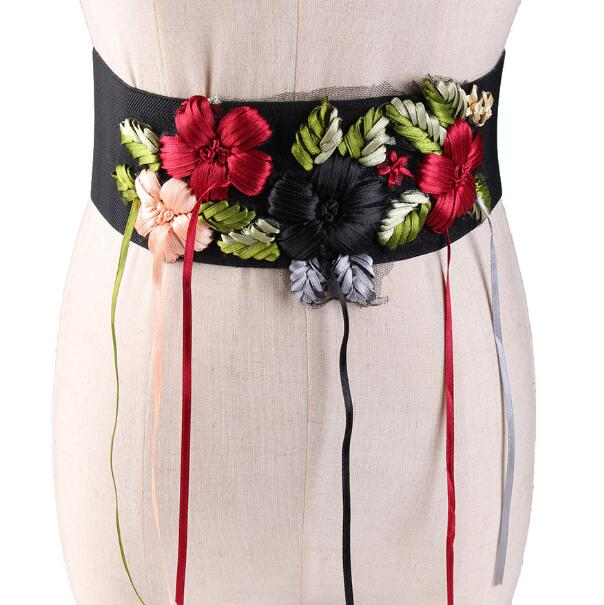 Women's Runway Fashion Flower Embroidery Cummerbunds Female Dress Shirt Corsets Waistband Belts Decoration Wide Belt R1146