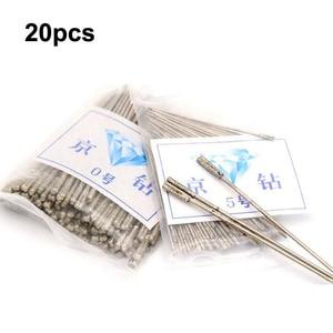 Image 2 - 20 piezas broca con revestimiento de diamante duradero, 1 ~ 2,3mm, puntas de aguja de color sólido para joyería, cerámica, Jade, ágata, vidrio, ámbar