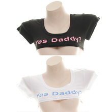 Japanese Style Yes Daddy Cute Mini T-shirt Expression Straitjacket Female Short Sleeve Sexy Tops Women