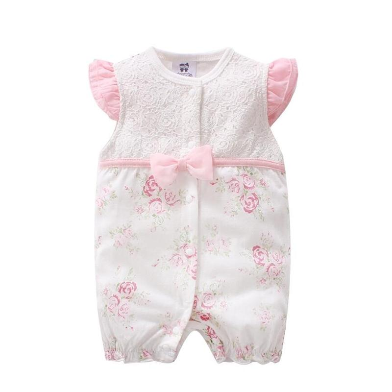 100% COTTON New Born Baby Clothes Summer 3 6 9 Months Girls Baby Rompers Lace Bowtie Flowers Princess Jumpsuit Coveralls Outfits dinstry 2018 new born baby clothes bird print baby jumpsuit summer baby rompers baby cotton dress
