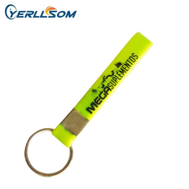YERLLSOM 500 개/몫 무료 배송 사용자 정의 스크린 인쇄 로고 고무 실리콘 키 체인 선물 Y060603