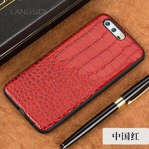 Image 5 - Wangcangli 電話ケース Huawei 社 P10 プラス本物の革バックカバーケース/クロコダイルテクスチャ革ケース