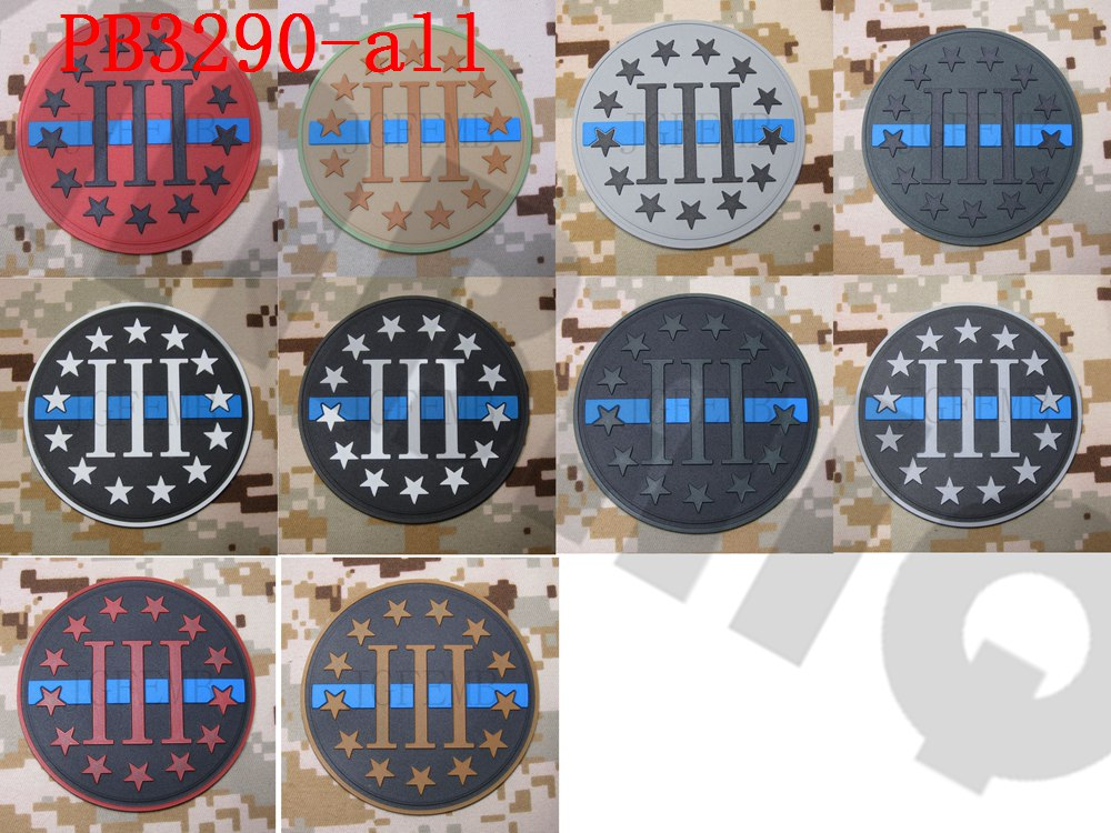 The thin blue line 3/% III PERCENT DEFEND LIBERTY  3D PVC Patch