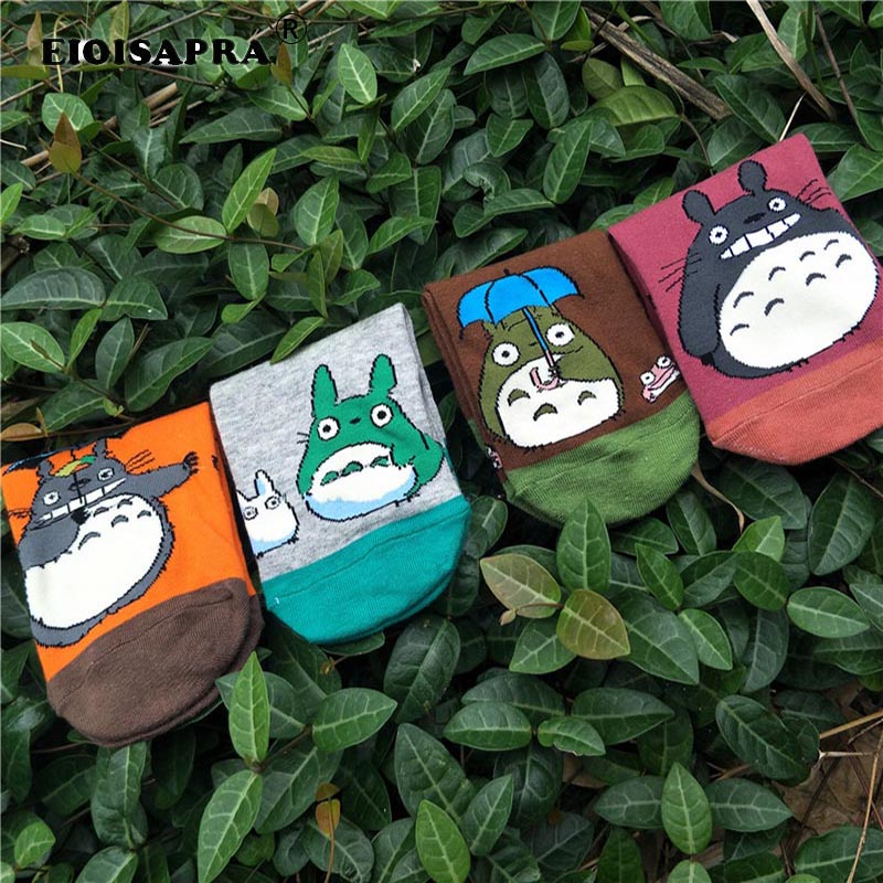 [EIOISAPRA]Japanese Style Animation Harajuku Personality My Neighbor Totoro Kawaii Cartoon Funny Women   Socks   Cotton   Socks