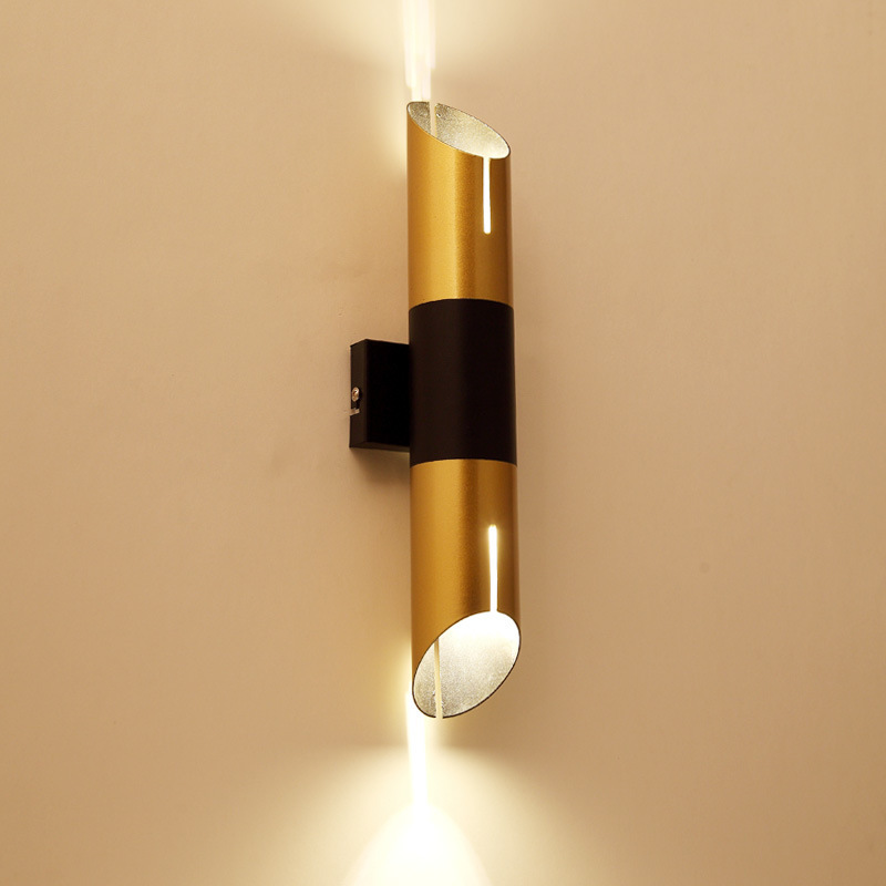 Post modern Iron cylinder Wall lamp Living room Bedroom Bedside lamp Passing lamp Simple Bamboo Industrial wind Led Wall lamp