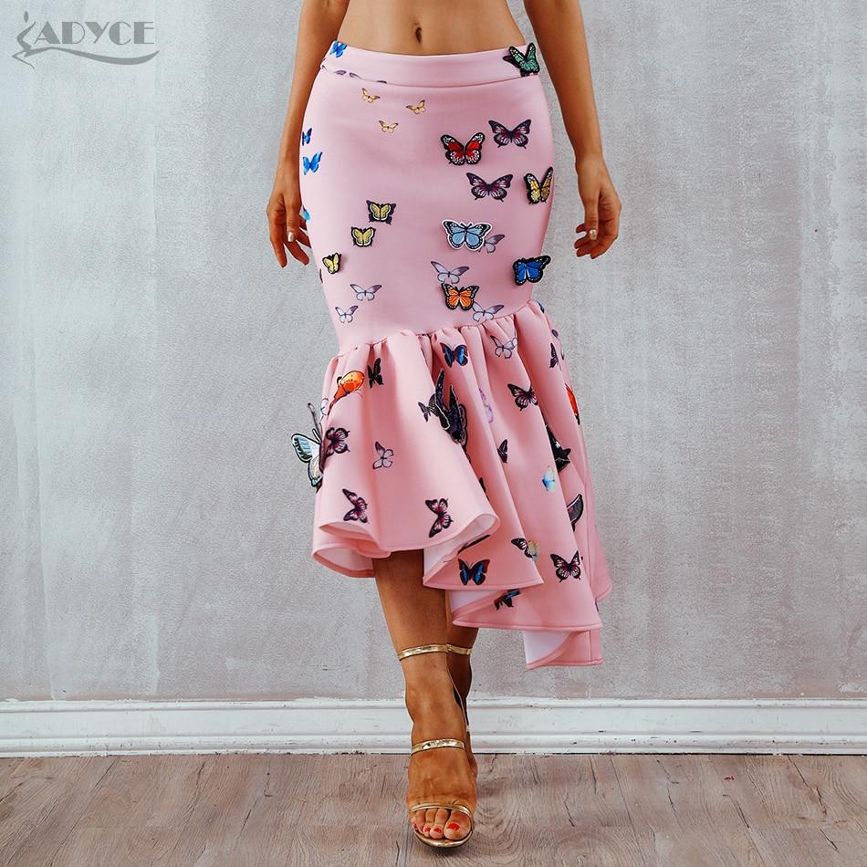 Parte Prom Casuales Celebrity Adyce Photo 2019 Elegante Verano Alta Bodycon calf Photo Faldas Mid as Volantes As Cintura Mujer Mariposa Nuevo De wTFwZ