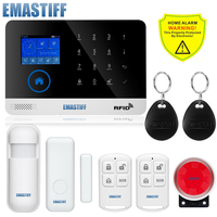 Free Shipping Newest Wireless Home Security WIFI GSM SIM Card EN RU ES PL DE Switchable
