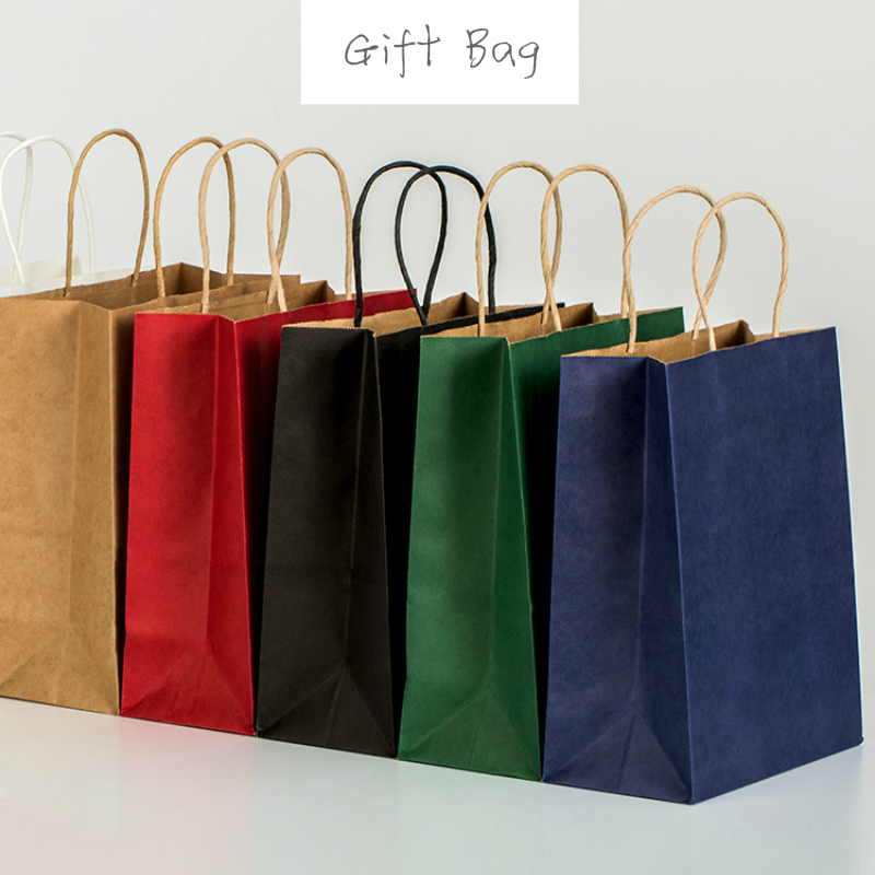 45pcs Fashionable Kraft Paper Gift Bag With Handle/shopping Bags Christmas Brown Packing Bag 21X15X8cm