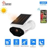Sanan Waterproof Outdoor Security Camera Solar Battery Powered Wireless IP Camera PIR Alarm 1080P Wifi Camera Remote Control