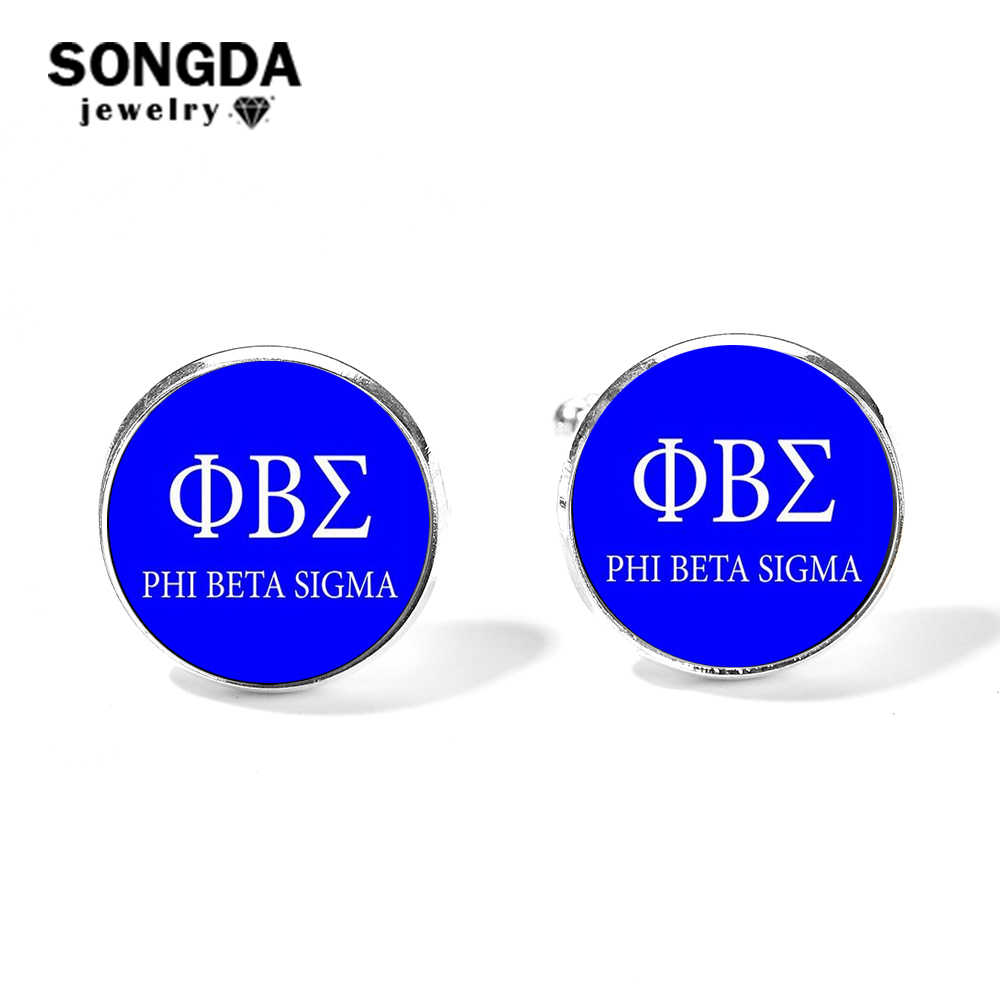 SONGDA 2019 New Simple Phi Beta Sigma Fraternity Cufflinks Greek Letter 3D Printed Glass Cabochon Mens Shirt Cuff Button Gemelos