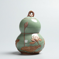 PINNY Embossed Lotus Ceramic Tea Cans Cute Gourd Shape Tea Caddy Tea Ceremony Accessories Two Layers Sealed Storage Jars