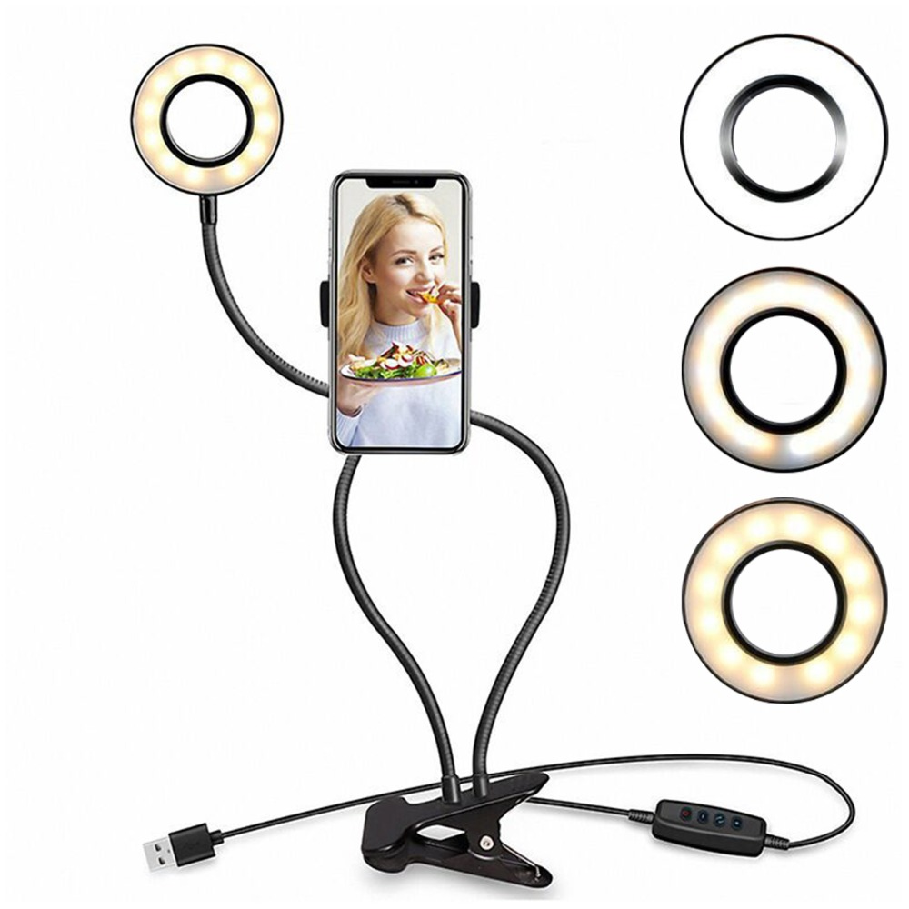 Camera Photo Video Light Desktop Mobile Live Anchor Beauty Fill Light Portable LED Ring Photography Lighting for Smartphone IOS