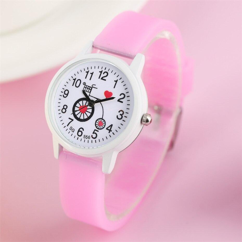Cartoon Bicycle Children Watches Sugar Color Silicone Watchband Wristwatch Quartz Kids Clock Best Gifts For Boys Girls Student