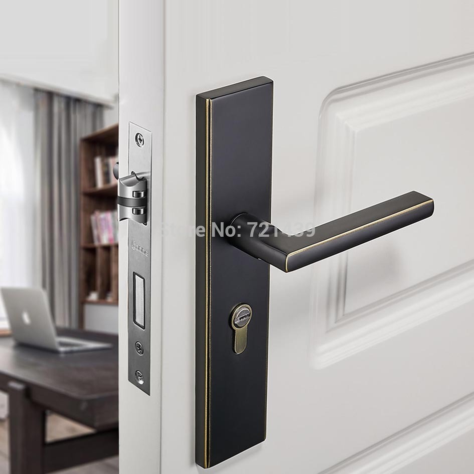 Black solid Copper Alloy Door Locks Continental Bedroom Minimalist Interior Door Handle Lock Cylinder Security Locks PackageBlack solid Copper Alloy Door Locks Continental Bedroom Minimalist Interior Door Handle Lock Cylinder Security Locks Package