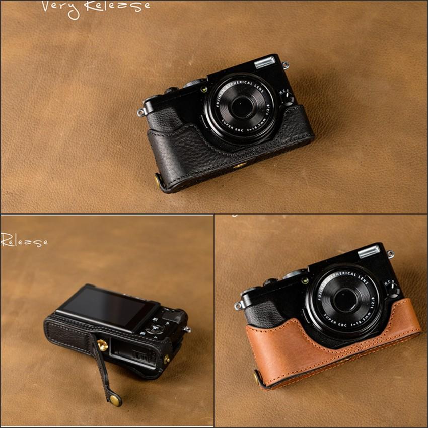 [VR] Handmade Genuine Leather Camera Case Half Body For Fujifilm X70 Camera Bag Full Cover Removable battery Disign [vr] genuine leather camera case camera half bag handmade cover open battery design for fujifilm x100f fuji x100f x100 f
