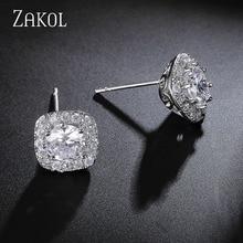 ZAKOL 4 Colors Options Fashion Ear Jewelry Round AAA+ Cubic Zirconia Simulated Diamond Stud Earring For Women Ladies FSEP102