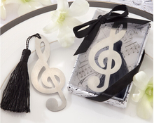 "Free Shipping 10pcs/lot ""Musical Symbols"" Metal Bookmark With Tassels Ribbon Gift Box For Party Gift Or Souvenirs"
