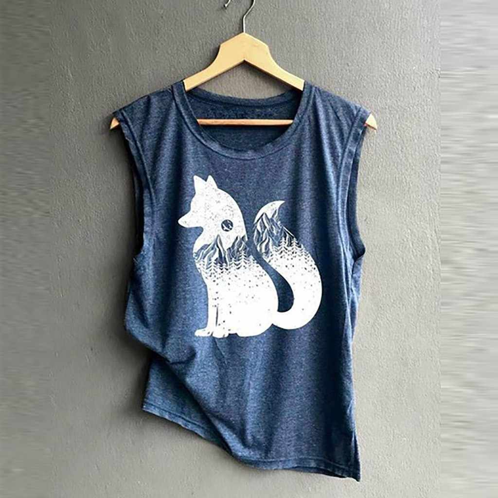 Women's Print Vest Casual Loose Top Sleeveless Tank Sport Pullover Fox Top womens tops and blouses blusas mujer de moda 2019