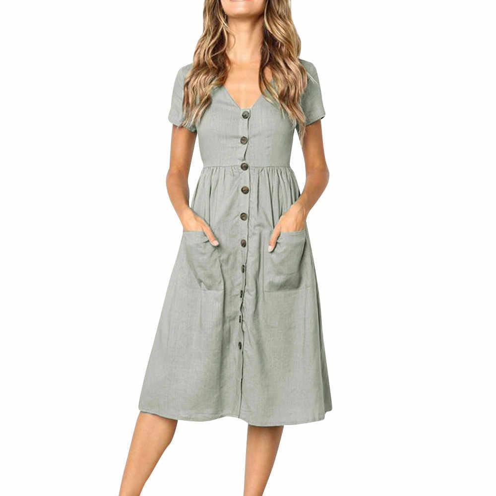 女性ボタンストライププリントコットンリネンカジュアルサマードレス 2019 セクシーな V ネック半袖ミディドレス Vestidos #8
