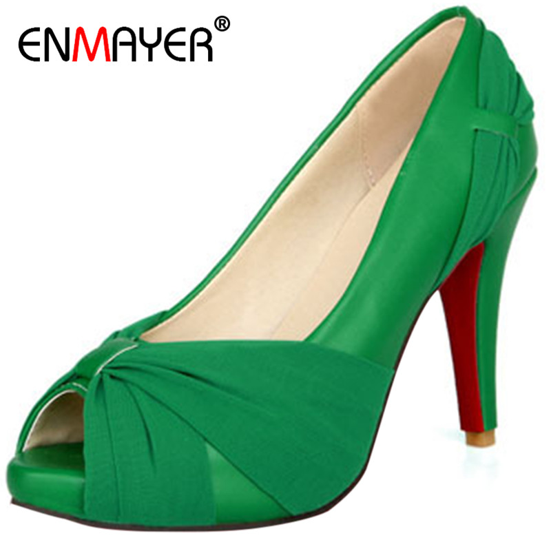 ENMAYER New Fashion Women High Heels Wedding Shoes Bridal Shoes Nightclub Platform Fish Head High Heel Shoes 8 Colors OPEN TOE europe and super high heels 14cm fashion shoes waterproof fish head sexy nightclub fine with plaid shoes