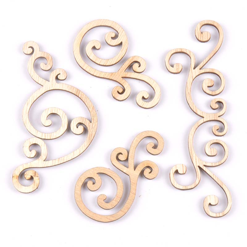 Flower Pattern Natural Wooden Lace Scrapbooking Diy Craft Wood Corner For Decoration Ornament Handicrafts 8pcs MT1859