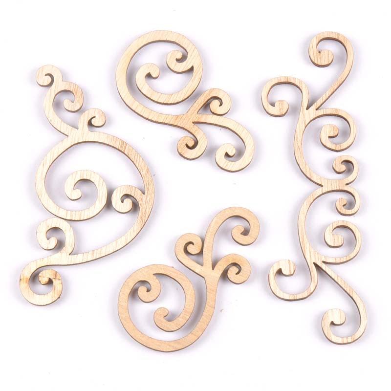 Flower Pattern Natural Wooden Lace Scrapbooking Diy Craft Wood Corner For Decoration Ornament Handicrafts 8pcs MT1859
