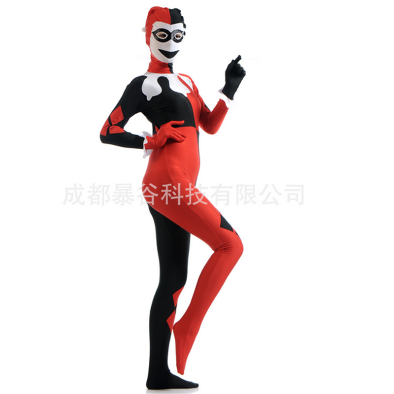 new high quality women clown zentai suit lycra spandex custom adult full body tights clown cosplay bodysuit halloween costumes
