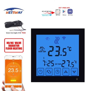 HESSWAY  Android,apple system Radiant Floor Heating thermostat wifi touch screen for sensor Mobile eu programmable touch screen electric floor heating thermostat wiht double sensor