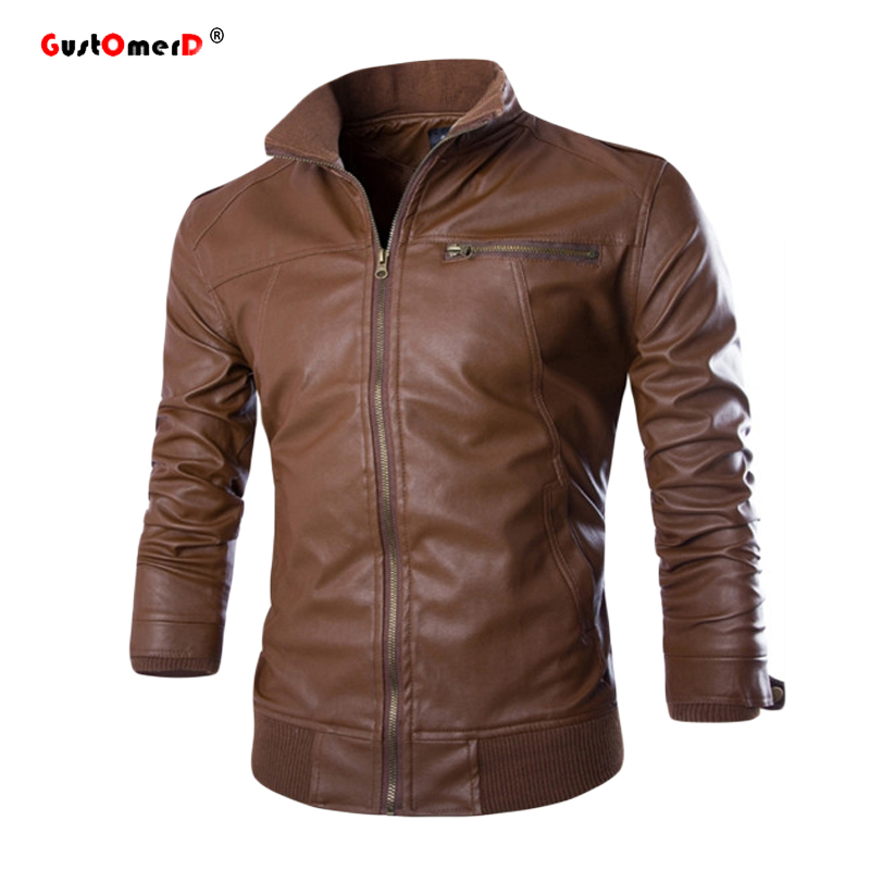 2016 New Fashion Pu Leather Jacket Men Jaqueta De Couro