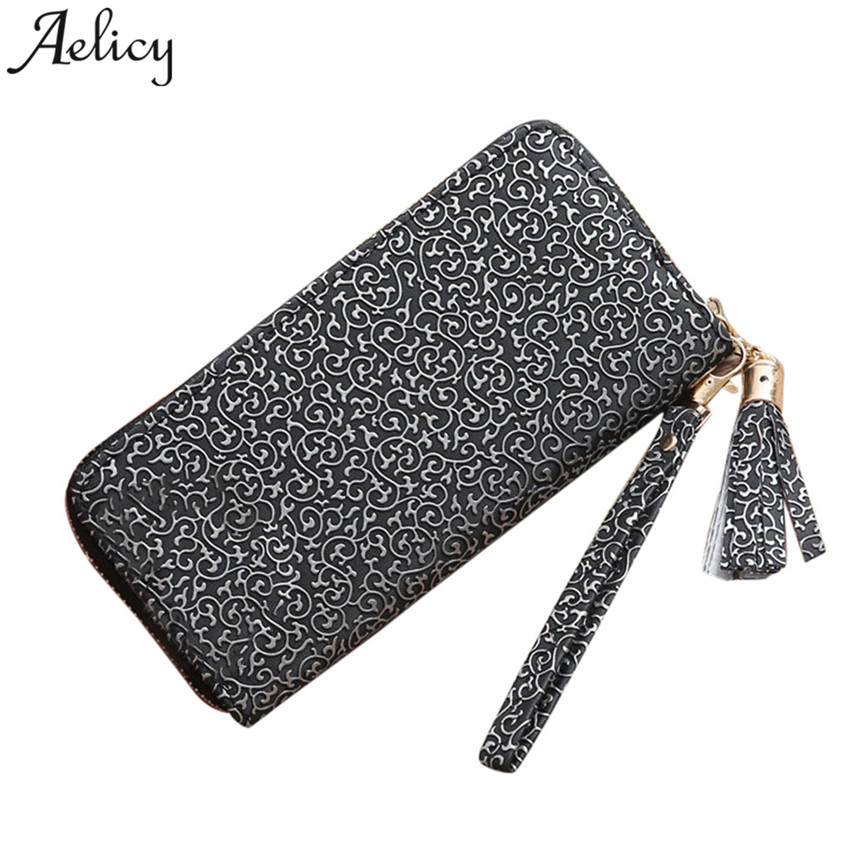 Aelicy Fashion Long Wallet Women Famous Designer PU Leather Multi-Functional Purse Tassel Cell Phone Bags Clutch Bag C30