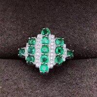 Изумрудное кольцо натуральной emerald3mm 925 серебро Бесплатная доставка для женщины или женщины 13 шт. камни