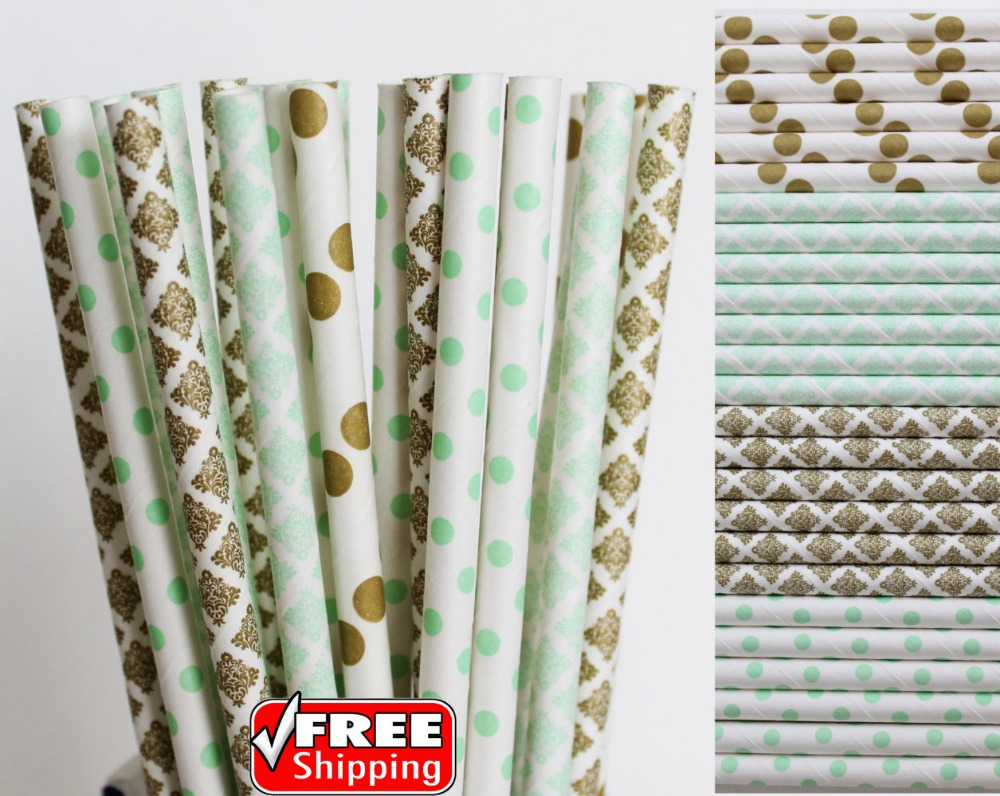 Mint Green Blue Coral and Metallic Gold Foil Striped Paper Straws ...