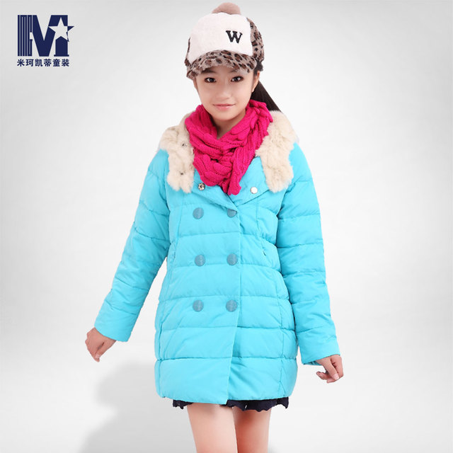 Children's clothing 2013 winter medium-long female child down coat double breasted female big boy outerwear meters hello kitty