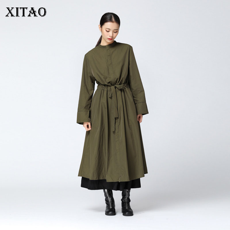 [XITAO] Korea Fashion New Women Autumn 2018 Single Breasted Mandarin Collar Full Sleeve Solid Color A-line   Trench   LJT3035