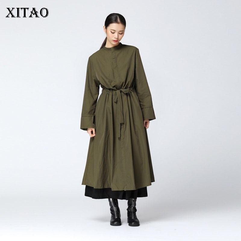[XITAO] Korea Fashion New Women Autumn 2018 Single Breasted Mandarin Collar Full Sleeve Solid Color A-line   Trench   LJT3035