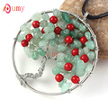 UMY Silver Plated Tree Life Red Round Beads Pendant Natural Green Aventurine Necklace Charm Jewelry