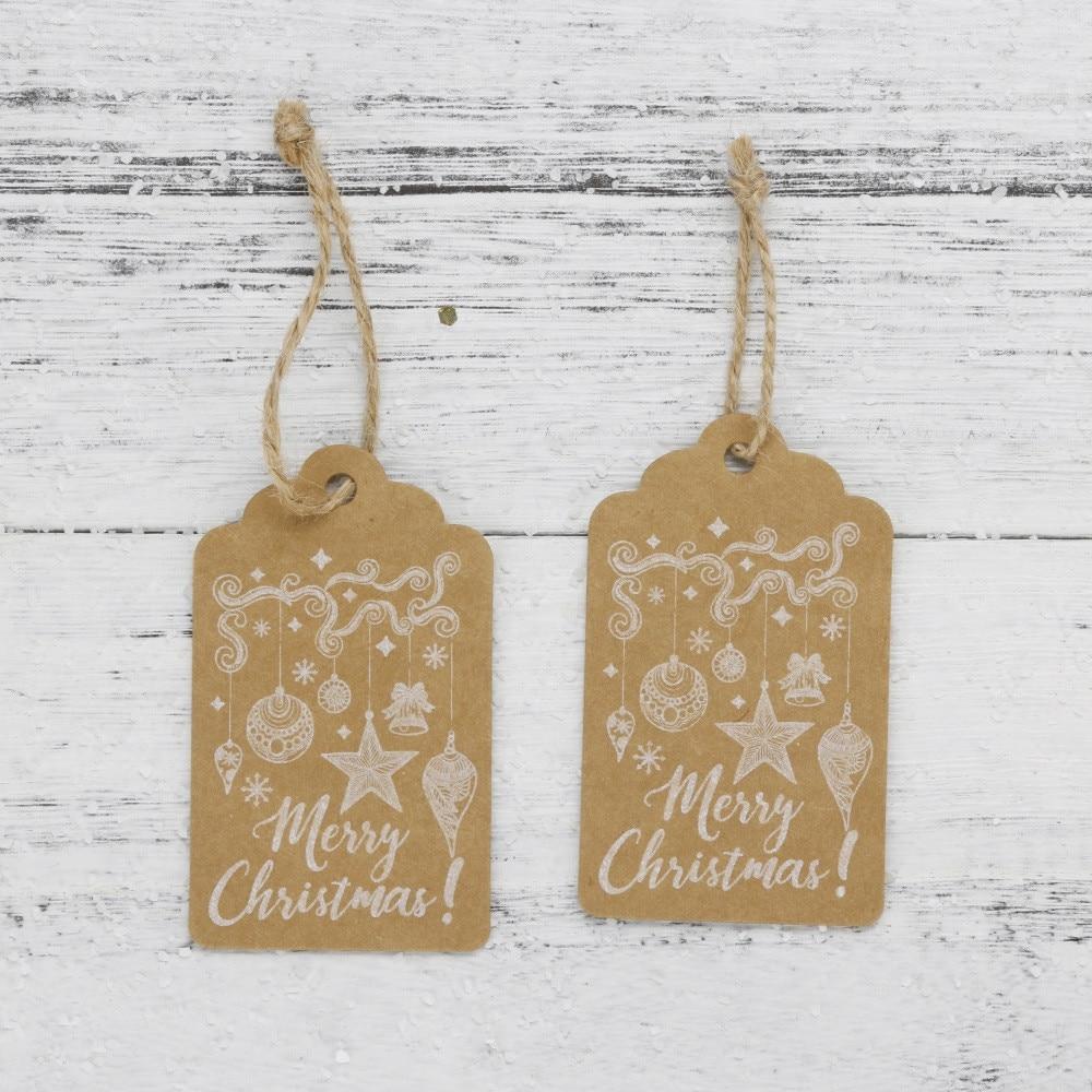 Frohe Weihnachten Etiketten.Feste Besondere Anlässe 50 Stücke Frohe Weihnachten Kraftpapier