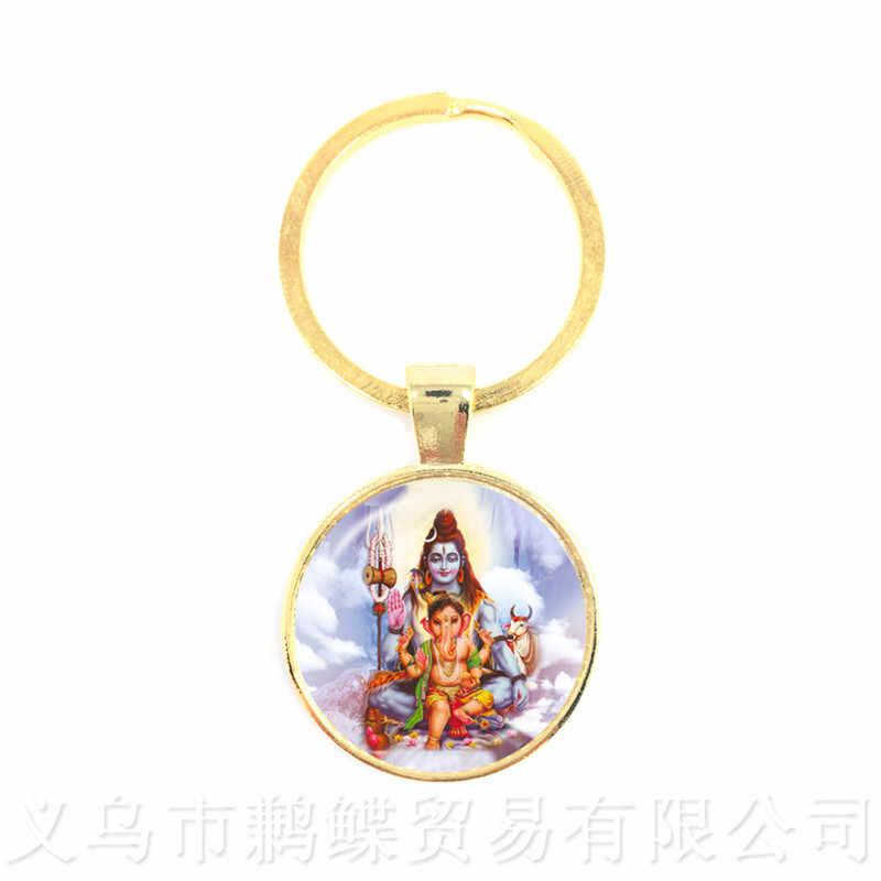Drop Shipping Ganesha Statue Hindu Ganapati Vinayaka God Keychains,Trendy Lord Ganesha Indian Buddhism Jewelry for Women Men
