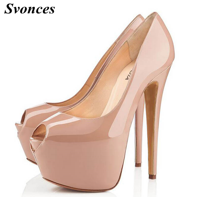 Hot Sale Peep Toe Woman High Heel 16CM Platform Heels Nude Patent Leather Sexy Female Dress Shoes Pumps OL Party Shoes Size 42