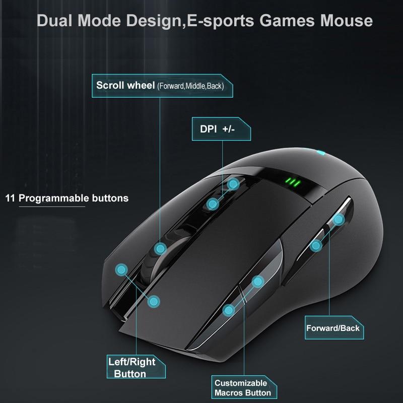 Rapoo e-sports souris de jeu LED lumières magiques 11 touches programmables Modes sans fil/filaire Rechargeable Dota 2 ordinateur souris Gamer - 5